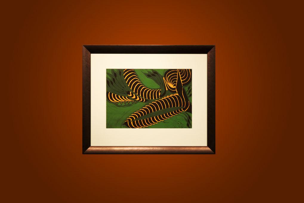 Vibrant creatures in a green garden 63 x 52 cm